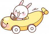 A vector illustration of banana car driven by a cute rabbit
