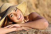 Portrait Of A Happy Woman Smiling With Perfect White Smile