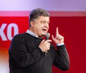 Ukrainian Presidential Candidate Petro Poroshenko Speaks At Election Meeting
