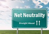 picture of neutral  - Highway Signpost Illustration Image with Net Neutrality wording - JPG