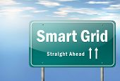 picture of electricity meter  - Highway Signpost Illustration Image with Smart Grid wording - JPG