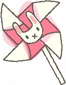 Vector illustration of pinwheel with bunnyhead