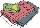 Vector illustration of books and mp3 player
