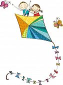 The view of children on the kite