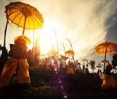 stock photo of hindu  - Hindu temple Pura Besakih during ceremony at sunny day - JPG