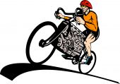Cyclist riding racing bicycle with v8 car engine