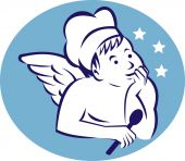 cook baker or chef child angel holding a spoon