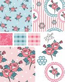 Spring Shabby Chic Rose Vector Patterns and Icons. Use as fills for digital paper or fabric. Great for scrap booking or art and craft projects.