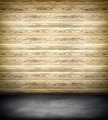 Abstract illustration background texture of an old natural wooden darken room with messy and grungy
