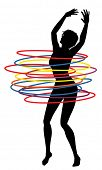 Illustration of a sexy woman exercising with many hula hoops