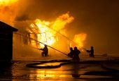 foto of firemen  - Firemen at work on fire - JPG