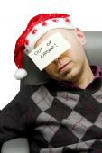 young stressed employ get ready for christmas holiday
