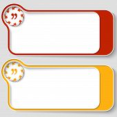 Set Of Two Abstract Text Boxes With Arrows And Quotation Mark