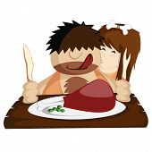 foto of caveman  - Happy prehistoric caveman couple having a huge bone - JPG