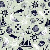 Vector seamless pattern with decorative sea elements