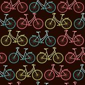 Seamless vector pattern with decorative bicycles