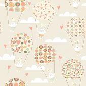 Romantic Seamless Pattern With Cute Rabbits Parachutists . Parachute With Hearts.  Happy Hares Flyin