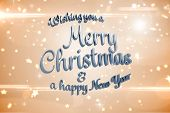 Merry christmas message against bright star pattern on cream