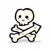 cartoon skull and crossbones arrow symbol