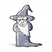 cartoon grumpy old wizard