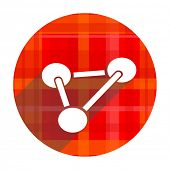 chemistry red flat icon isolated