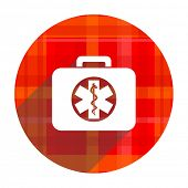 rescue kit red flat icon isolated