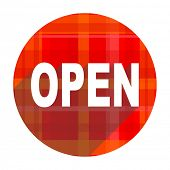 open red flat icon isolated