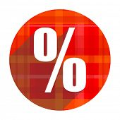 percent red flat icon isolated
