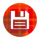 disk red flat icon isolated