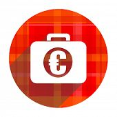financial red flat icon isolated