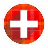 plus red flat icon isolated