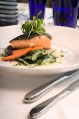 Close-up of Salmon with Vegetables