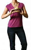 Young Woman Holds A Juicy Burger - Clipping Path