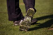 Close-up of Golf Shoe After Tee-off