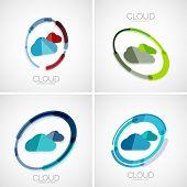 Cloud storage, 3d design company logo, business symbol concept, minimal line style