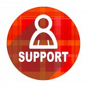 support red flat icon isolated