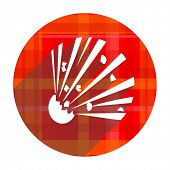 bomb red flat icon isolated