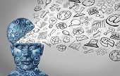 picture of thinking  - Business thinking and thinking businessman concept as an open human head made of gears with office icons spreading out as a symbol of financial intelligence and corporate education or seminar courses - JPG