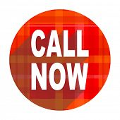 call now red flat icon isolated