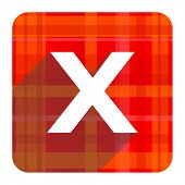 cancel red flat icon isolated