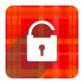 padlock red flat icon isolated