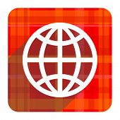 earth red flat icon isolated