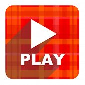 play red flat icon isolated
