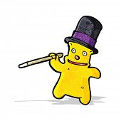 cartoon teddy bear with top hat and cane
