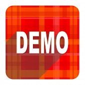 demo red flat icon isolated