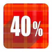 40 percent red flat icon isolated
