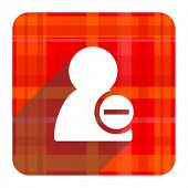 remove contact red flat icon isolated