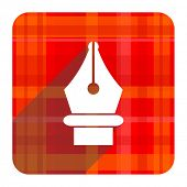 pen red flat icon isolated