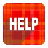 help red flat icon isolated