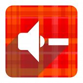 speaker volume red flat icon isolated